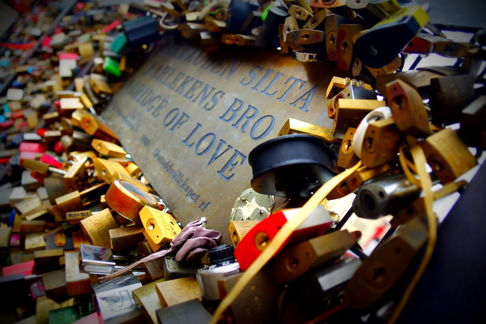 A cluster of elaborate love locks in downtown Helsinki, Finland