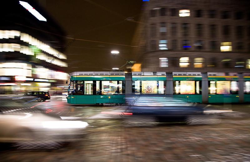 A tram in central Helsinki.
