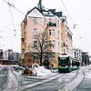 Tram in a street in the Katajanokka neighbourhood in Helsinki, Finland.