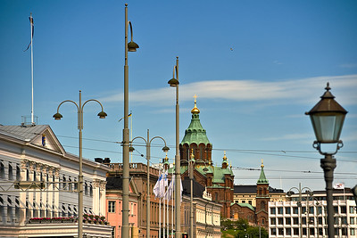 View of Presidential Palace and Uspensky Cathedral from the Kauppatori