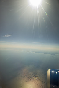 Flying into the Finnish sun, June 29th, 2010 over the Baltic Sea, approaching Helsinki