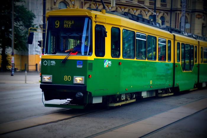 Riding the tram in Helsinki, Finland.