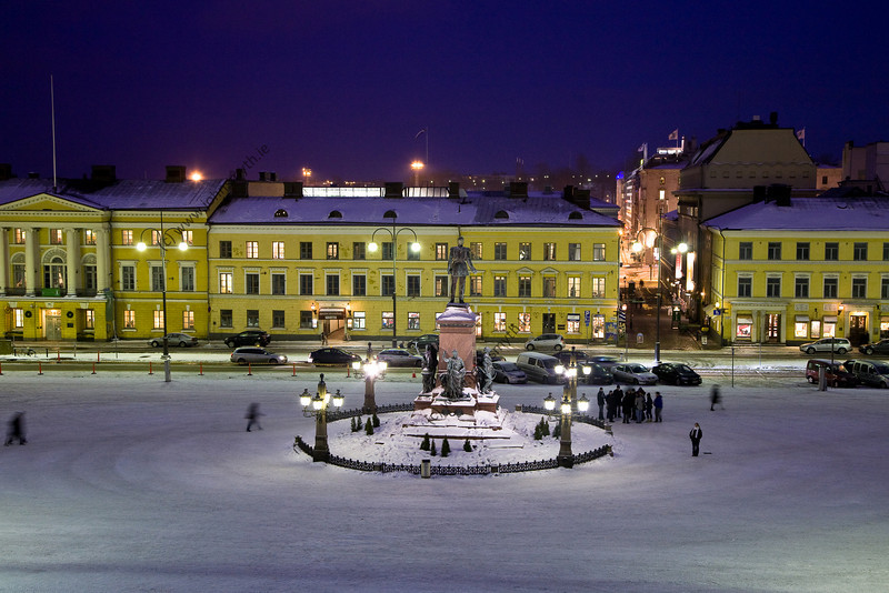 Senate Square in Helsinki - the picture is taken from the top of the steps in front of Helsinki Cathedral.