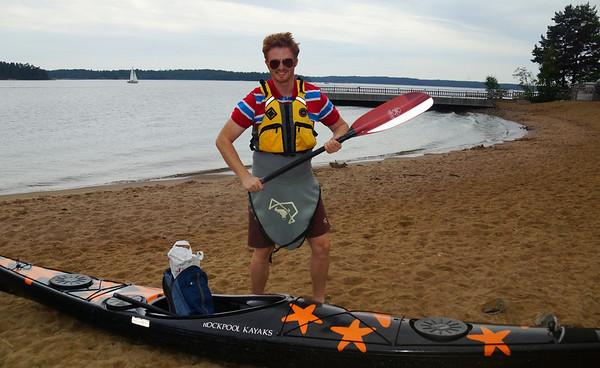 Samuel kayaking in Finland