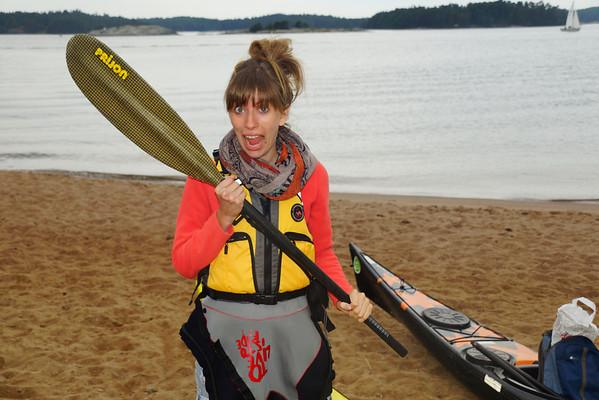Audrey kayaking in Finland
