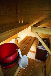 Room with a sauna