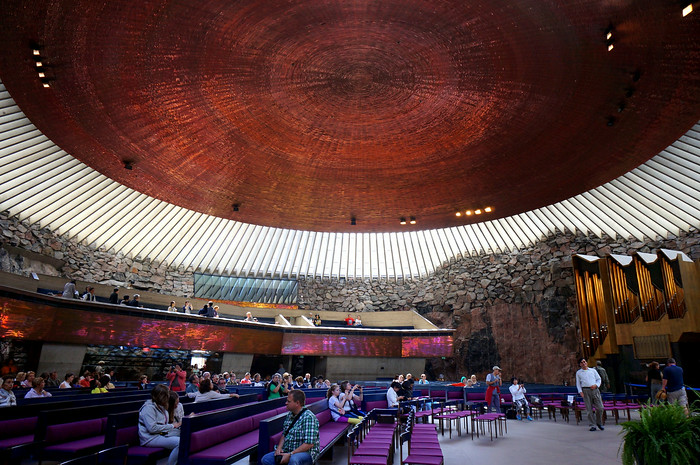Inside the Rock Church covered by an impressive copper dome.