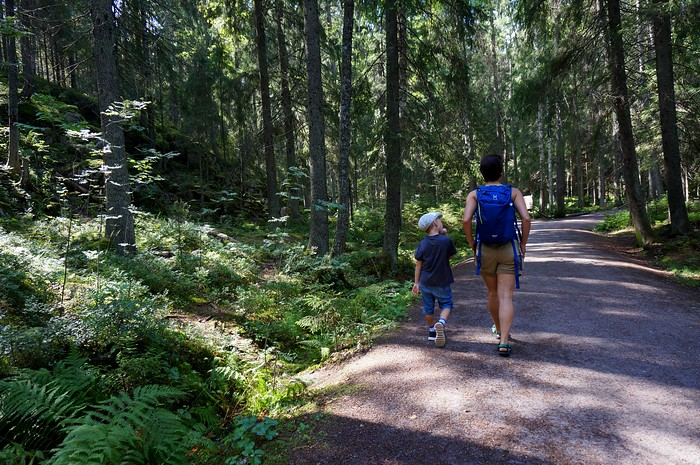 Hiking in Nuuksio National Park, Finland.