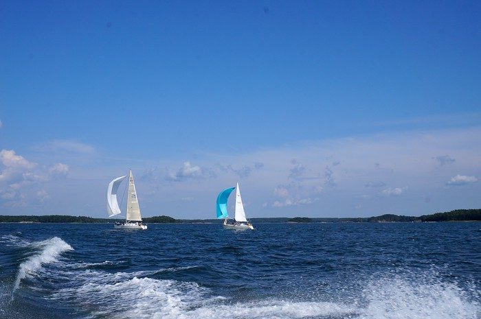 Sailboats out on the Baltic Sea on a beautiful summer day.