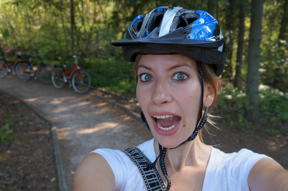 Audrey Bergner of That Backpacker biking in Helsinki, Finland
