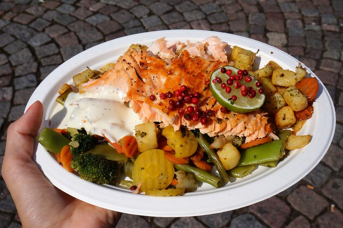 Salmon, potatoes and vegetables at Market Square in Helsinki.