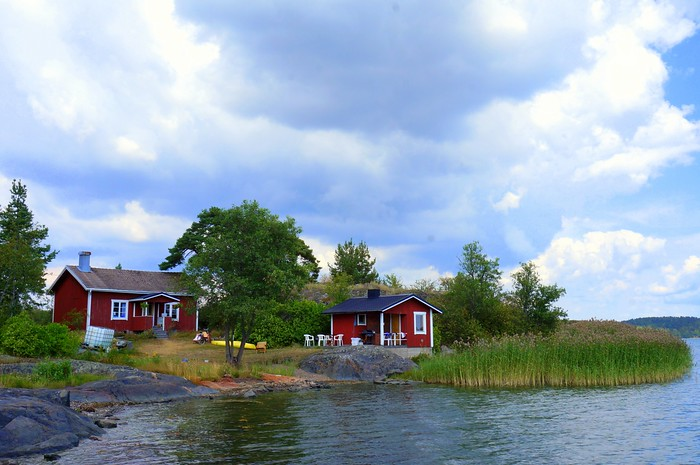 Little red cottages looking over the Baltic Sea in Kimito Island.