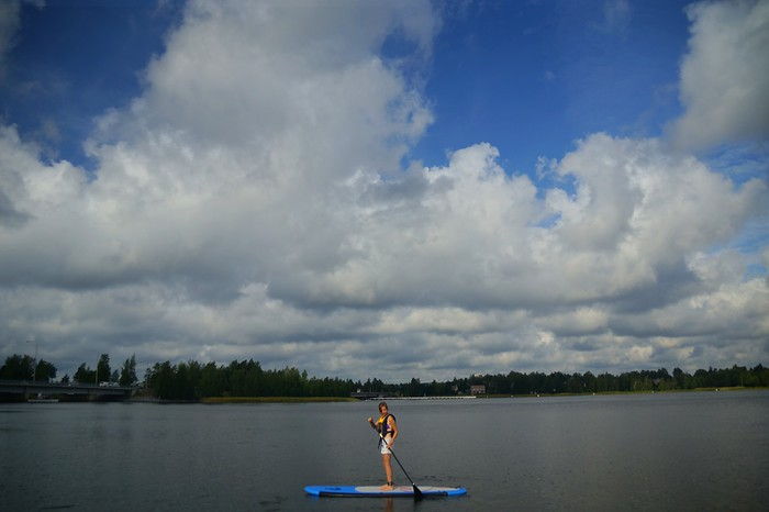 Trying paddleboarding for the first time