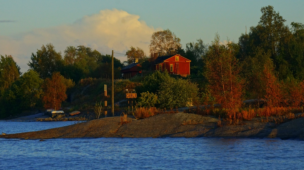 A shot of a small island just off of Helsinki during golden hour