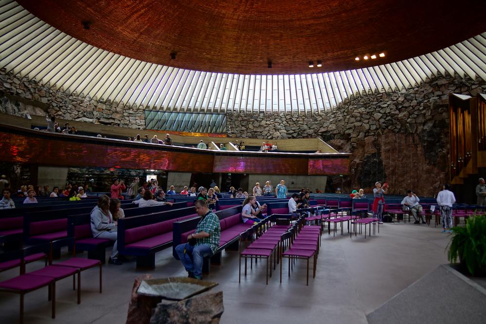 Inside of the Rock Church in Helsinki, Finland
