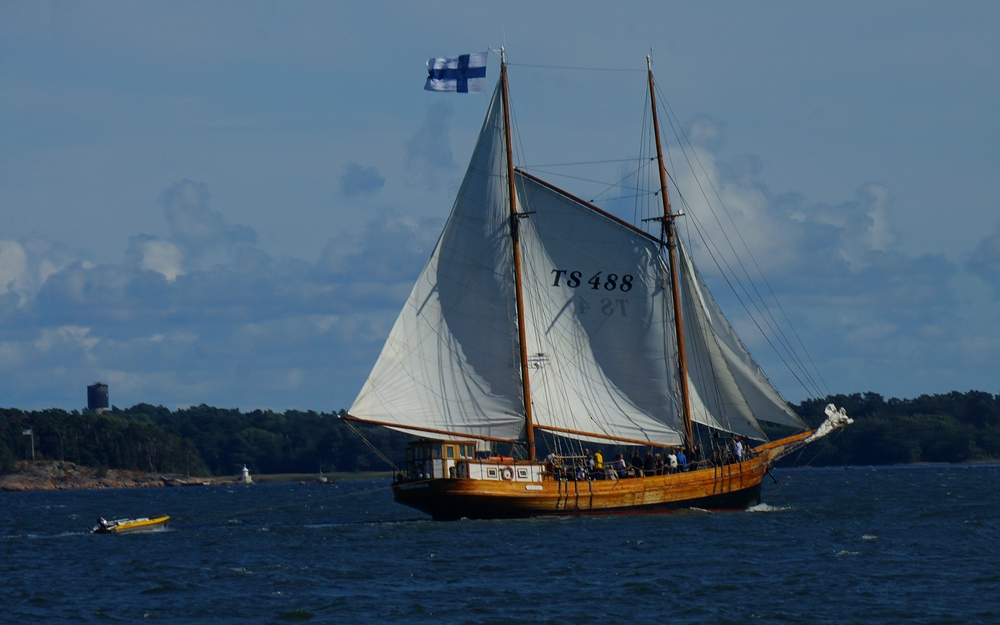 A Finnish sailboat that we spotted while take a cruise ferry around the Baltic Sea in Helsinki, Finland