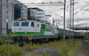 Sr1 3046 in new green livery contrasts with older coaches at Tampere on 9 August 2012