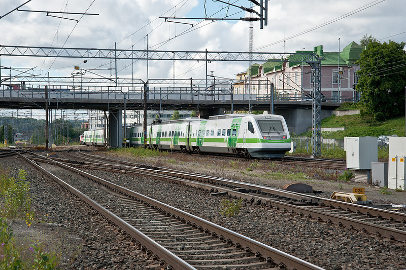 Sm3 Pendolino set 08 leaves Tampere on 9 August 2012 with an express for Helsinki