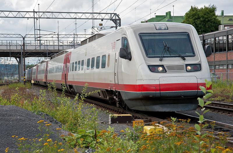 Sm3 Pendolino set 11 arrives at Tampere on 9 August 2012