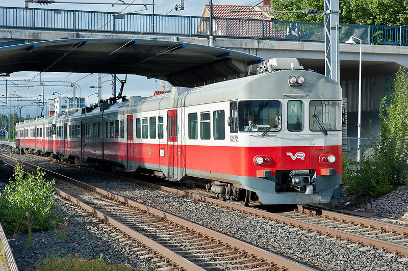 Sm2 6272/6072 and 6271/6071 leave Kerava on 8 August 2012 with a local service for Helsinki