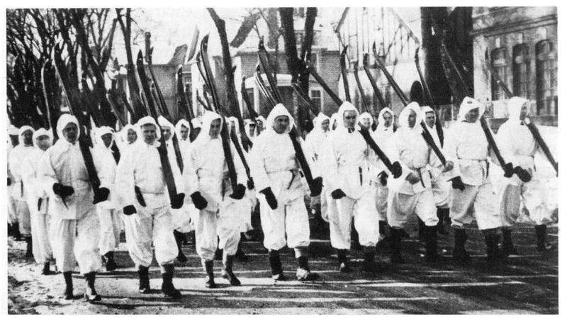 Finntown Finns marching in 1940 St. Paul Winter Carnival