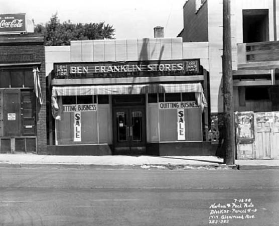 Ben Franklin store on Glenwood Ave. - 1958