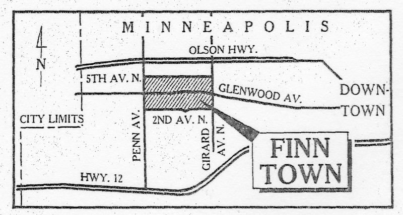 A map of the old Finn Town in the current Harrison Neighborhood of Minneapolis