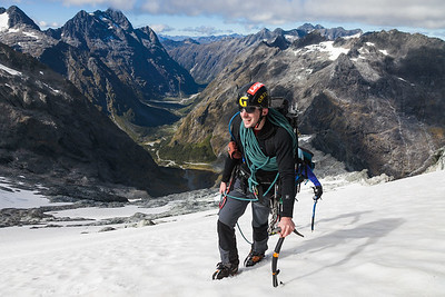 Two climbers on Mcpherson - Talbot Traverse, Fiordland National Park