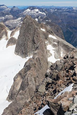 North Ridge and East Face of Karetai Peak, Darran Mountains, Fiordland National Park