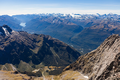 Cleft Creek and Hollyford Valley from Te Wera, Darran Mountains, Fiordland National Park