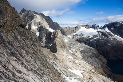 Turner's Eyrie, Karetai Peak. East Ridge of Patuki in the background, Darran Mountains, Fiordland National Park