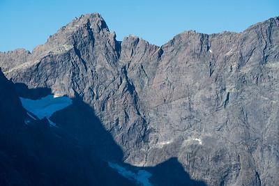 South (Donne) Faces of Karetai Peak and Mount Revelation, Darran Mountains, Fiordland National Park