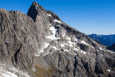 North face of Karetai Peak and Lindsays Ledges, Darran Mountains, Fiordland National Park