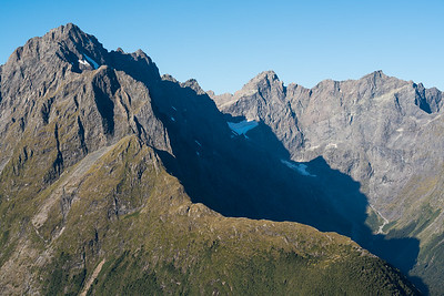 SW ridge of Underwood and South (Donne) Faces of Karetai Pk and Mt Revelation, Donne Valley, Darran Mountains, Fiordland National Park