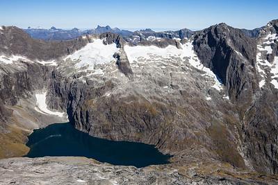 Lake Turner below Waitiri and Mount Makere, Darran Mountains, Fiordland National Park