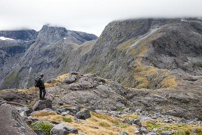 Climber above Gertrude Saddle on the Mcpherson - Talbot Traverse, Fiordland National Park