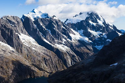 Mount Makere, Mount Tarewai, Mount Milne, Mount Syme, Mount Tutoko and Mount Madeline above Cleft Creek and Lake Turner, Darran Mountains, Fiordland National Park