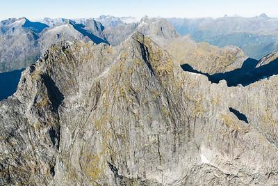 East Faces of Sheerdown Peak, Darran Mountains, Fiordland National Park