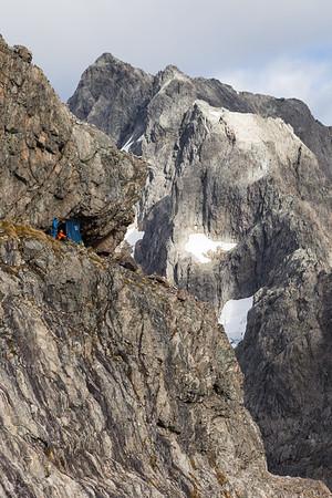 Climbers at Turners Eyrie, Karetai Peak