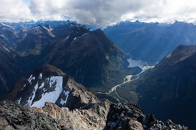 Deepwater Basin and the confluence of the Cleddau and Tutoko Rivers from the summit of Mount Underwood, 2222 metres higher, Fiordland National Park