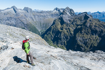 Looking into the head of the West Branch Cleddau with Access Peak and Odyssey Peak, Sheerdown Hills, Fiordland National Park