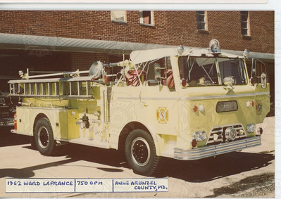 1962 Ward LaFrance Firebrand, open-cab, yellow Anne Aundrel County, MD