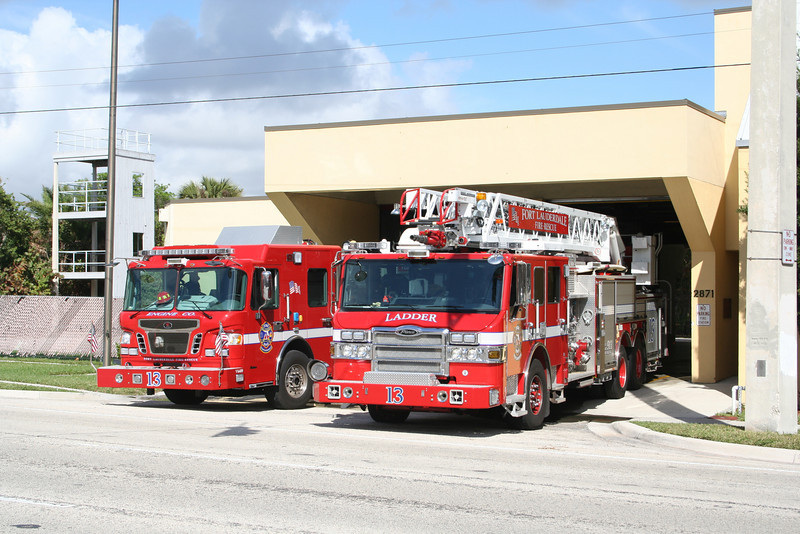 Fort Lauderdale FL Station 13 - Guardians of the Beach.<br /> Eng 13 - 2009 Spartan / Rosenbauer<br /> Lad 13 - 2009 Pierce Velocity Quint