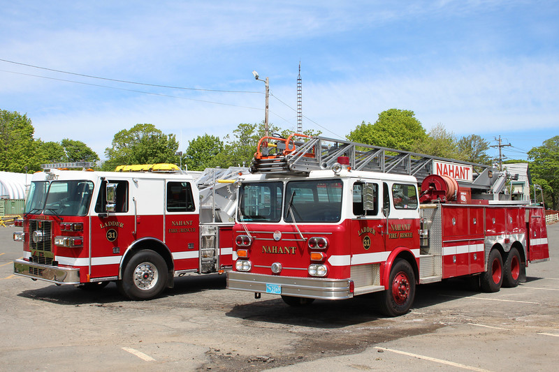 Nahant Mass Ladder 31 Old & New:<br /> - 2013 Sutphen 1750/390/100' Aerial<br /> - 1979 Maxim 250/200/100' Aerial (refurb 2002)