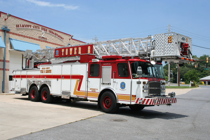 Howard County MD Tower 2 - Ellicott City - 2007 E-One Cyclone 100'.