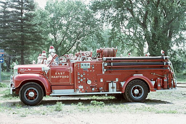 East Hartford, Ct Mack engine. When I went on the EHFD in 1982 Engine's 3 and 6 were using this style mack engine. The other 3 engine companies were using mack CF pumper's. Picture provided by Kenneth Beliveau