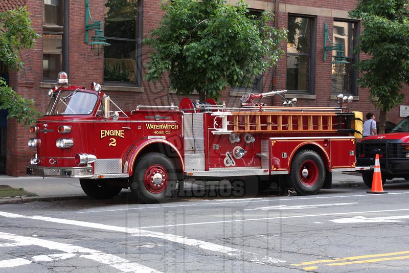 American LaFrance pumper with is located at the Boston Fire Museum.