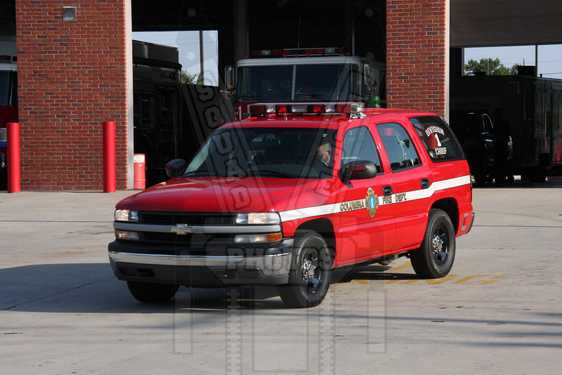 Columbia, SC Division 1 chief responding to a brush fire threatening a house