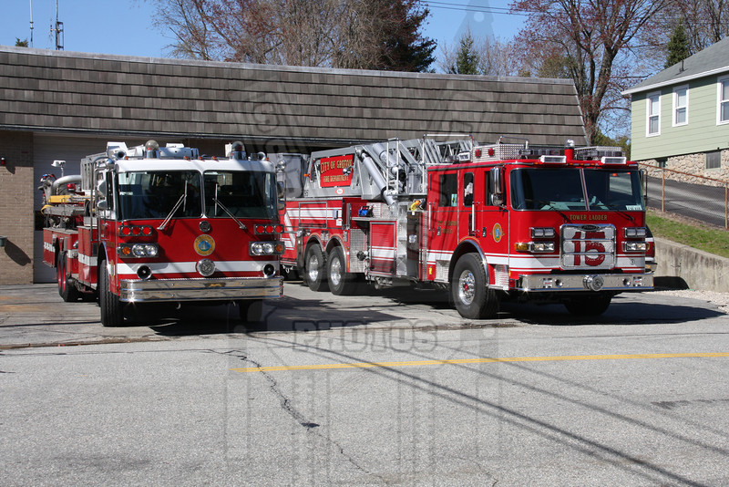Groton, Ct Old tower ladder (Left) and new tower ladder that was not in service when this picture was taken 4/14/10