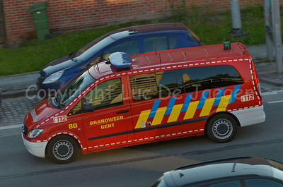 A Mercedes Vito used by the professional fire department of Gent (Gent) in Belgium. Photo taken in the late afternoon.